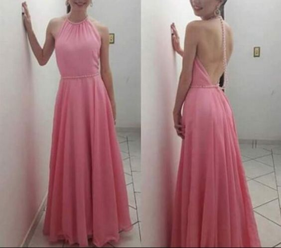 Pink Halter Chiffon Backless Prom Dresses, Pink Lovely Gowns, Formal Dresses, D0266
