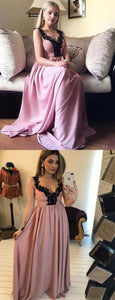 Charming A Line V Neck Sleeveless Pink Long Prom Dress With Appliques, D0274