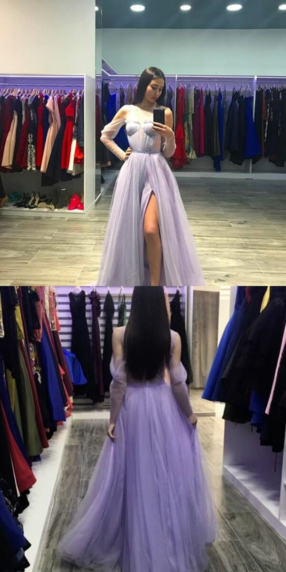 Elegant A-Line Off-The-Shoulder Long Sleeves Split Front Long Prom Dress, D0278