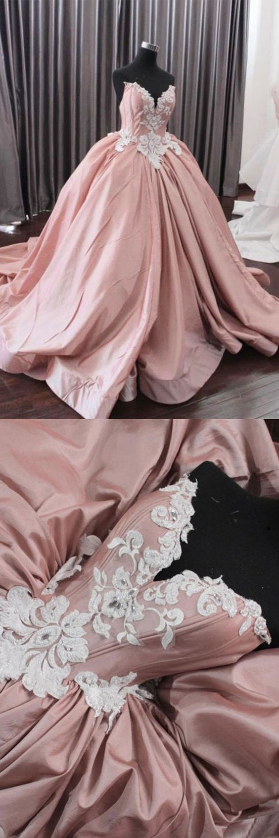 Fashion Ball Gown Sweetheart Pink Long Prom Dress With Appliques, D0281