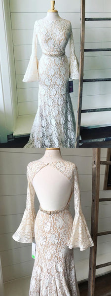 Luxurious Mermaid Jewel Long Sleeves Open Back Lace Long Prom Dress With Beading, D0282