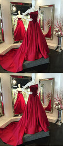 Unique A-Line Strapless Red Satin Sweep Train Prom Dress With Velvet, D0283