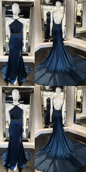 Unique Mermaid Halter Backless Split Front Sweep Train Prom Dress With Beading, D0284