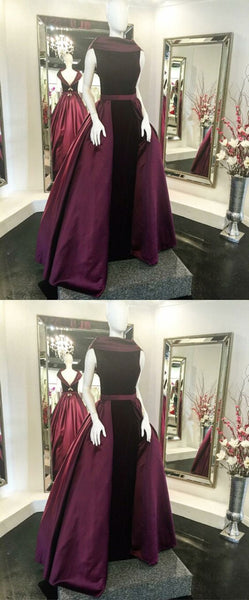 Unique A-Line Bateau Sleeveless Burgundy Long Prom/Evening Dress With Velvet, D0285