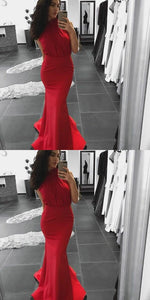Unique Mermaid High Neck Sleeveless Red Long Prom/Evening Dress With Appliques, D0286