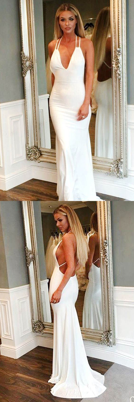 Formal Mermaid V-Neck Sleeveless White Satin Long Prom Dress, D0288