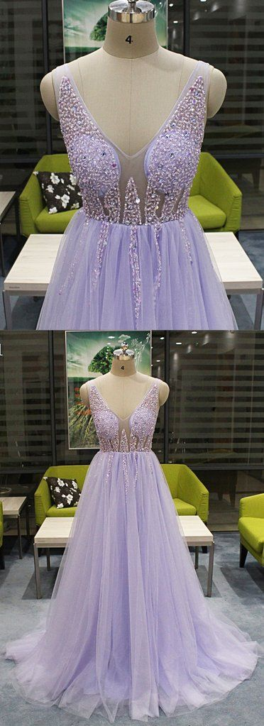 Beautiful Lavender Beaded Top V-neckline Prom Dresses 2019, Charming Evening Gowns, D0290