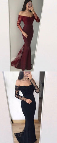 Mermaid Off-the-Shoulder Long Sleeves Black Burgundy Prom Dress with Appliques, D0294