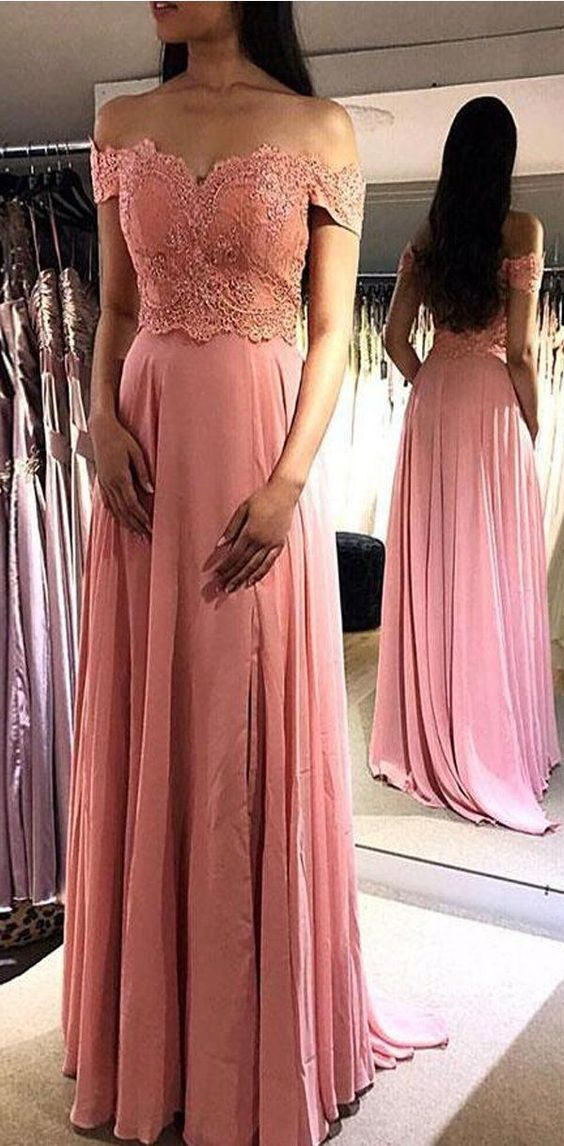 Peach Off the Shoulder A-line Lace Fashion Formal Prom Dresses, prom dress for party, D0295
