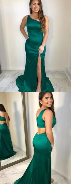 Affordable Mermaid One Shoulder Open Back Green Satin Prom Dresses with Split , D0297