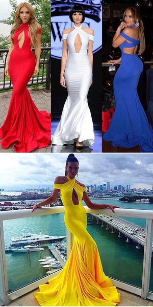 Mermaid Sexy Modest Cheap Charming Yellow Blue Red White Prom Dressess, D0299