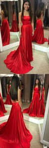 Mermaid Spaghetti Straps Low Cut Red Satin Prom Party Dress with Split ,D0300