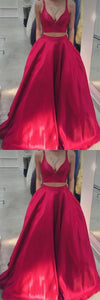 Cheap 2 Pieces Long Simple Spaghetti Straps Red Prom Dresses With Pockets, D0301