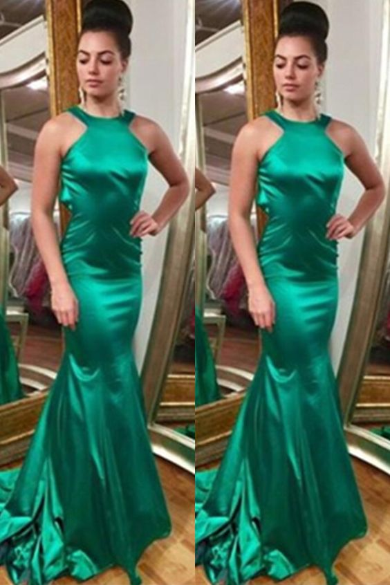 Mermaid Satin Prom Dresses,Simple Cheap Prom Gowns,Green Long Prom Dress,Charming Modest Evening Gowns,D0307