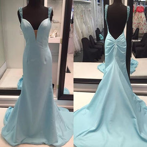 Simple Light Sky Blue Prom Dresses,High Quality Mermaid, D0308