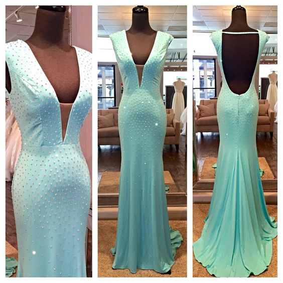 Mint Mermaid Long Deep V-neck Prom Dresses,Charming Backless Prom Gowns,Handmade Pretty Modest Evening Dresses,D0310