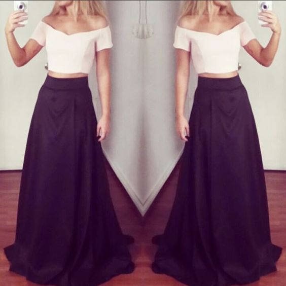 Off Shoulder Long A-line Prom Dress Whtn Black Skirt,Two Pieces Elegant Peom Gowns,Simple Cheap Part Prom Gowns,D0312