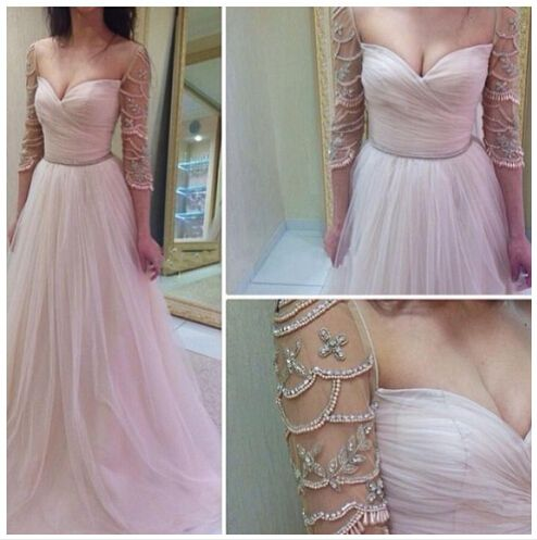 Half SleevesLong Prom Dresses,Beaded Tulle Prom Dress,Charming Evening Dresses,Prom Gowns,Party Dresses,Evening Gowns On Sale,D0318