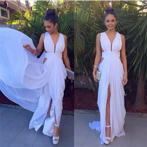 Real Sexy Long White Long Prom Dresses For Teens,Cheap Simple Chiffon Evening Dresses,V-neck Prom Gowns,Prom Dress, D0319