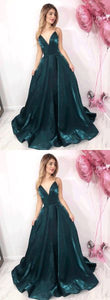 Simple green v neck long prom dress, formal dress,D0321