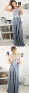Elegant Gray Lace Prom Dress With Slit, Fashion Halter Chiffon Party Dress With Split, D0329
