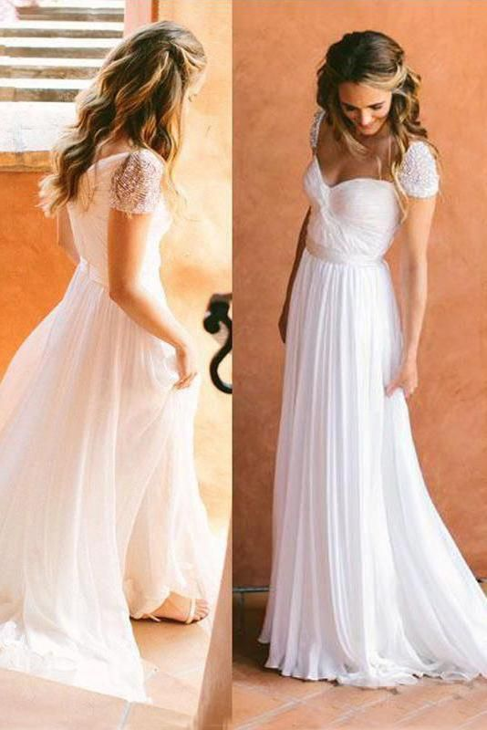 Cheap Sweetheart Beading Cap Sleeve Beads Chiffon A-Line Open Back Ruffles Wedding Dress, D0330