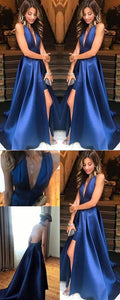 Blue Prom Dresses with Slit, Long Prom Dresses For Teens, Modest Halter Prom Dresses A-line 2019, D0334