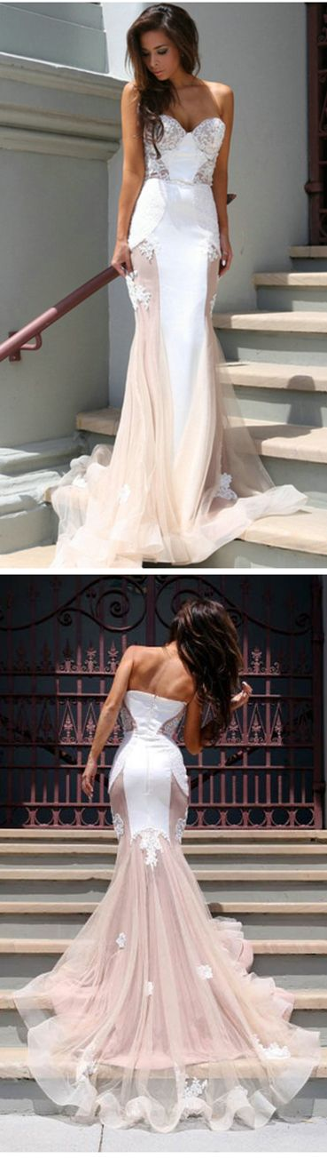 Fashion Mermaid Sweetheart Blush Pink Long Organza Prom Dress With Appliques, D0336