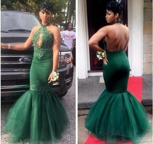 Dark Green Black Girls Mermaid Prom Dresses Long 2018 Halter Lace Appliques Beaded Sexy Backless, D0338