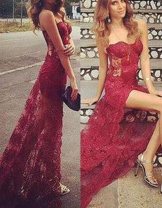 Graceful Lace Strapless Neckline Floor-length Sheath Prom Dresses, D0340