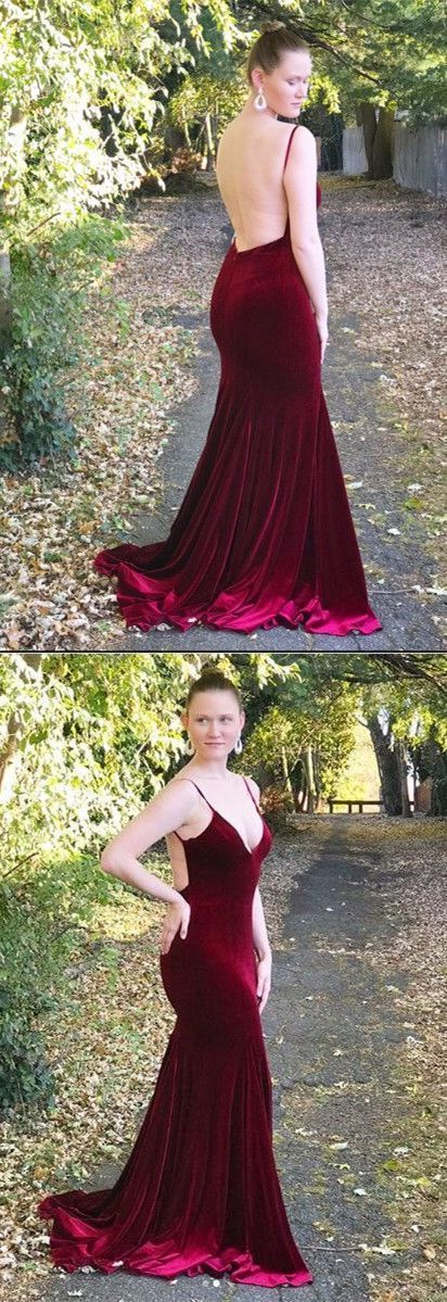 Prom dresses, straps burgundy mermaid long prom dress, backless prom dress, 2018 prom dress, formal evening dress, D0343