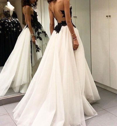 Charming Tulle Appliques Long Prom Dress, Sexy Sleeveless Prom Dresses,Backless Evening Dress, D0345