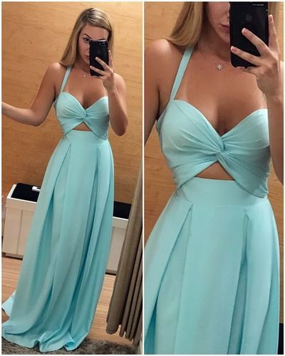 Chiffon halter ball back dress special occasion dress,  D0346