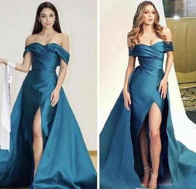 Satin Long Prom Dresses Leg Split Pleats Off The Shoulder Satin Evening Dress Sweet Train Custom Made Celebrity Cocktail Gowns, D0347