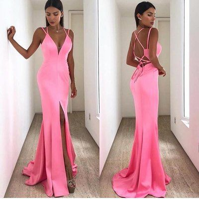 Strappy Mermaid Hot Pink Long Evening Dress with Lace U,  D0348