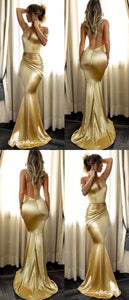Mermaid Spaghetti Straps Long Gold Prom Dress with Ruched,  D0350