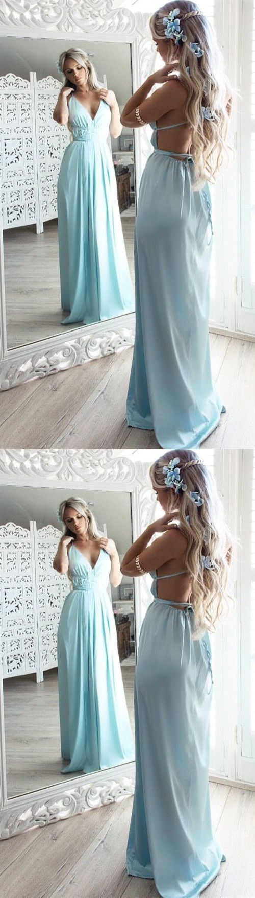 Sexy Light Blue Chiffon Evening Dress,Backless Long Prom Dress, D0351