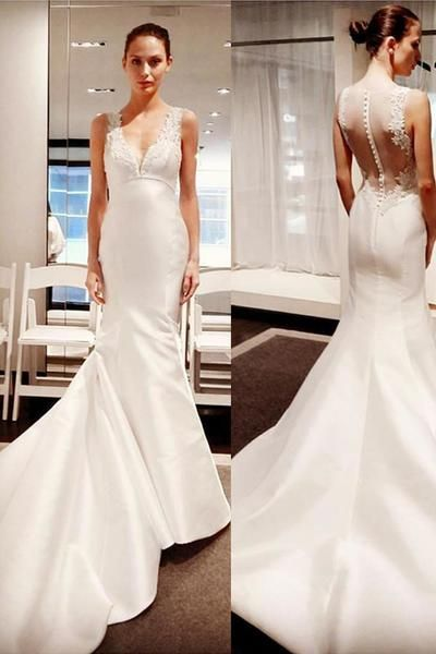 Sleeveless Button Mermaid Gorgeous V-Neck Satin Wedding Dress With Lace Appliques , D0353
