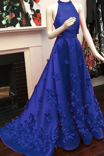 Royal Blue Satin Strapless Long Train Evening Dress, Prom Dress With Applique  , D0355
