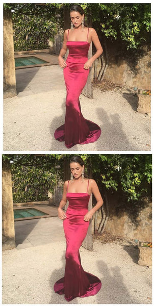 Mermaid Spaghetti Straps Sweep Train Burgundy Prom Dress , D0357