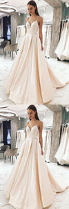 Simple v neck champagne satin long prom dress, evening dress, D0358