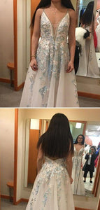 A-line V-neck Blue Lace Long Prom Dresses With Applique,Cheap Prom Dress, D0360