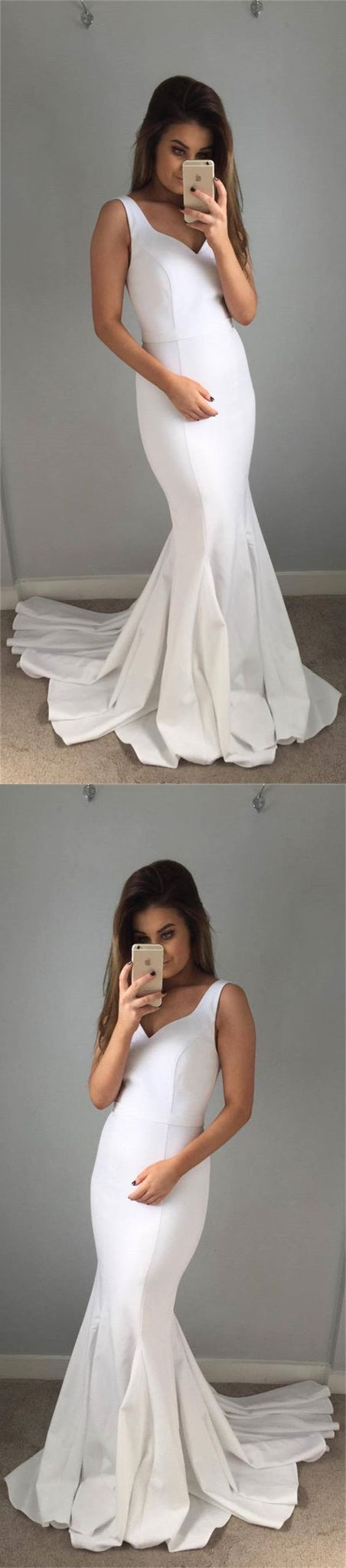 Simple white satin long prom dresses, formal mermaid evening dresses for women, cheap prom dresses , D0361