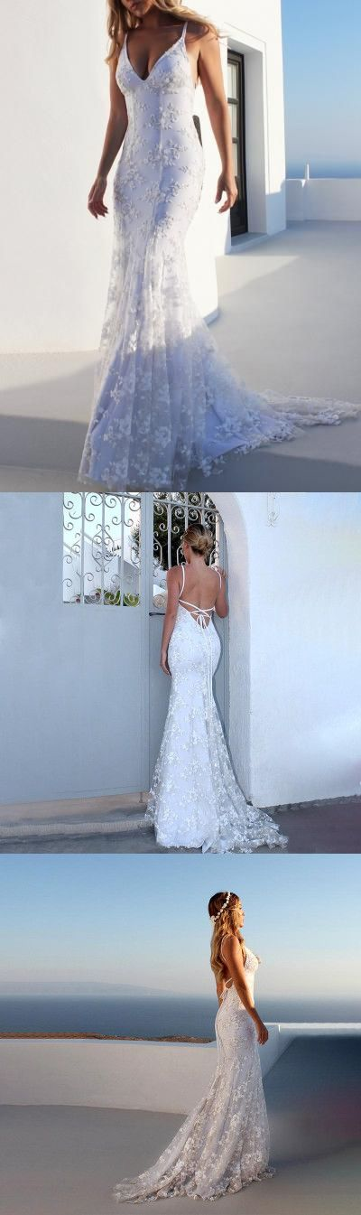White Summer Sexy V Neck Spaghetti Strap Backless Lace Maxi Prom Dress, D0363