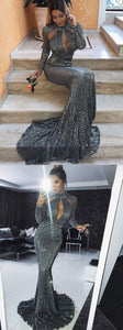 Mermaid High Neck Cut Out Grey Sequined Prom Dress, D0364
