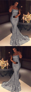 Long Gold Sequins Strapless Prom Dress Mermaid Evening Gowns, D0365