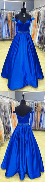 Royal Blue Satin V Neck Long Prom Dresses Ball Gowns Off The Shoulder, D0367