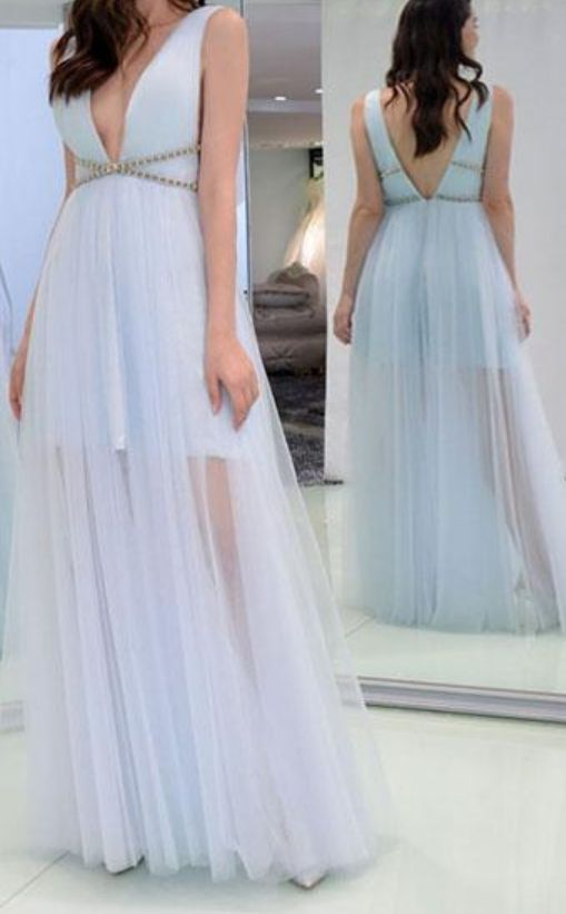 Simple Blue Soft Tulle V-Neck Prom Dresses,A-Line Floor Length Formal Evening Party Gowns, D0370