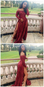 A-Line Off the Shoulder Long Sleeves Red Lace Prom Dress, D0371