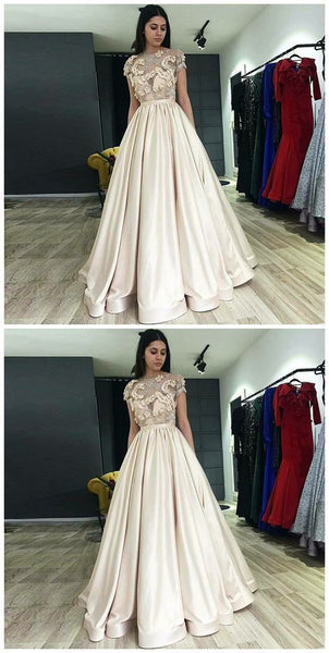 A-Line Illusion Round Neck Light Champagne Prom Dress With Appliques Pleat, D0373